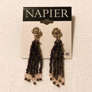 Napier Beaded Tassel Boho Earrings New on Card
